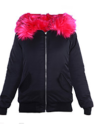 Women's Short Padded Coat,Street chic Plus Size / Going out Color Block-Cotton / Polyester Polyester Long Sleeve Hooded Blue / Pink / Red