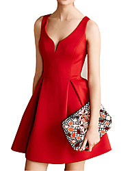 Women's Formal Party Sexy Vintage Street chic Sheath DressSolid Backless Deep V Above Knee Sleeveless