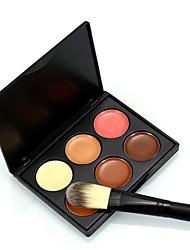 6 Color Concealer Contour Wet Cream Plus 1pcs Foundation Makeup Brush Coverage Concealer Natural Face Multi-color # popfeel