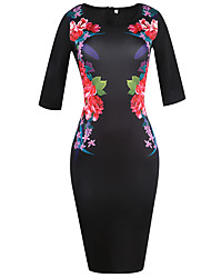 Women's Going out Holiday Vintage Street chic Slim Elastic Plus Size Sheath Pencil DressFloral Round Neck Knee-length  Length Sleeve Spring FallMid