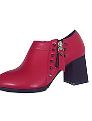 Damen-Stiefel-Lässig-PU-Blockabsatz-Komfort-Schwarz Rot Gold