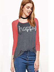 Damen Patchwork Einfach Lässig/Alltäglich T-shirt,Rundhalsausschnitt Herbst / Winter Langarm Rot / Weiß Baumwolle / Polyester Mittel