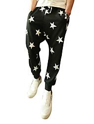 Hommes Ample Sarouel Chino Pantalon,simple Street Chic Décontracté / Quotidien Plage Vacances Couleur Pleine Taille Normalefermeture