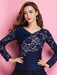 Ballroom Dance Tops Women's Training Milk Fiber Lace Lace Splicing 1 Piece Long Sleeve Natural Top
