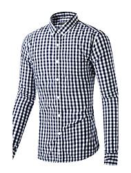Men's Casual/Daily Simple Spring Fall Shirt,Check Shirt Collar Long Sleeve Blue Cotton Medium