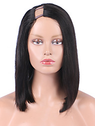 atacado bob u parte peruca 1 * 4 certa parte lateral perucas brasileiro do cabelo 12inch 130% de densidade de preto natural u em forma