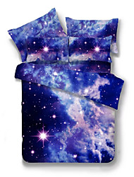 Duvet Cover Sets Novelty 4 Piece Poly/Cotton Reactive Print Poly/Cotton 4pcs (1 Duvet Cover, 1 Flat Sheet, 2 Shams)
