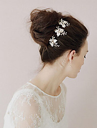 1pc Women's Crystal Flower Imitation Pearl Headpiece-Wedding Sticks Hairpin Pins Hair Tool (13*9cm)