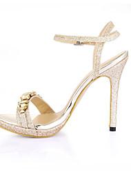 Women's Sandals Summer Comfort PU Wedding Party & Evening Dress Stiletto Heel Rhinestone Silver Gold