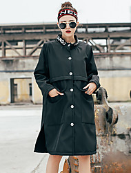 Women's Going out Simple Trench Coat,Solid Peaked Lapel Long Sleeve Fall Winter Wash inside out Dry flat Polyester Spandex Regular
