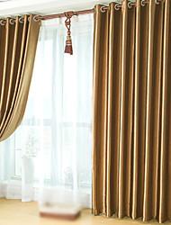 Dois Painéis Tratamento janela Neoclassicismo , Sólido Quarto Poliéster Material Cortinas Blackout Decoração para casa For Janela