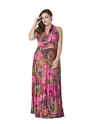 SWEET CURVE Women's Holiday Boho Plus Size / Chiffon Dress,Print Deep V Maxi Sleeveless Red Polyester Summer