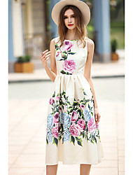 Women's Going out Casual/Daily Holiday Simple Loose Dress,Floral Round Neck Knee-length Sleeveless Polyester Beige Spring Summer High Rise