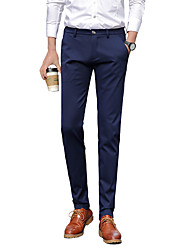 Men's Plus Size Slim Chinos Business Pants,Going out Casual/Daily Work Vintage Simple Street chic Solid Low Rise Zipper Button Cotton
