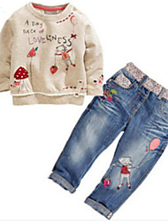 Mädchen Sets Druck Baumwollmischung Herbst Frühling Lange Ärmel Jeans Kleidungs Set