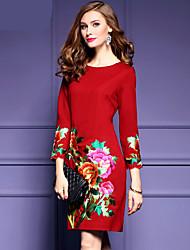 2016 nouvelle banlieue d'hiver brodé robe sous le creux a été minces neuf points manches robe féminine