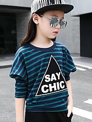 Camiseta Chica Casual/Diario A Rayas Estampado Algodón Manga Larga Primavera Otoño Regular