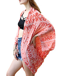 Women's Cover-Up,Floral Chiffon Polyester Red