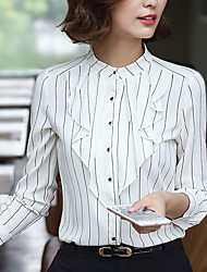 Spring Fall Women Going out Casual Blouse Striped Stand Long Sleeve Chiffon Shirt Tops