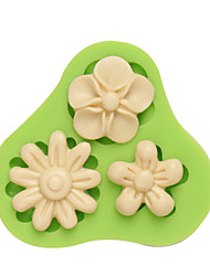 Three Holes Flower Gumpaste Silicone Mould Fondant Molds Sugar Craft Tools Resin flowers Mold
