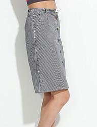Jupes Aux femmes Mi-long Vintage Lin Non Elastique