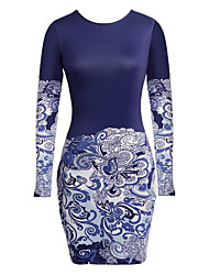 Women's Casual/Daily Formal Simple Sheath Dress,Solid Print Round Neck Above Knee Long Sleeve Polyester Blue All Seasons Low Rise