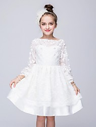 Ball Gown Knee-length Flower Girl Dress - Organza Long Sleeve Jewel with Appliques Crystal Detailing Lace
