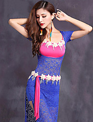 Belly Dance Outfits Women's Performance Lace Viscose Lace 4 Pieces Short Sleeve Natural Dress / Waist Belt / Bra / Shorts
