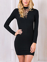 Women's Casual/Daily Club Sexy Simple Knit Cut Out Criss Cross Bodycon DressSolid Round Neck Above Knee Long Sleeve Mid Rise