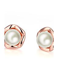 Perle imitée Boucles d'oreille goujon Bijoux Mariage Soirée Quotidien Décontracté Alliage Plaqué Or Rose 1 paire Or Rose