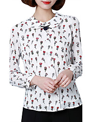 Women's Casual/Daily Work Plus Size Cute Street chic Spring Fall Blouse,Floral Peter Pan Collar Long Sleeve Polyester Thin