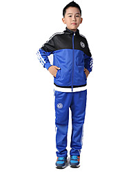 Kid's Soccer Clothing Sets/Suits Breathable Comfortable Spring Fall/Autumn Winter Solid Terylene Football/Soccer Black Blue