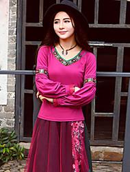 наша история выходит Chinoiserie весна / осень-т shirtembroidered возлюбленную с длинным рукавом розовый хлопок / спандекс среды