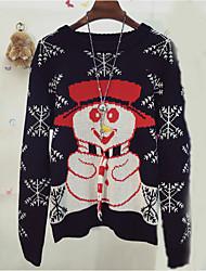 Conectar Armazenar feliz natal do floco de neve boneco de neve doce jacquard em torno do pescoço camisola mulheres soltas