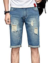 Hommes Grandes Tailles Mince Jeans Short Pantalon,Vintage simple Street Chic Décontracté / Quotidien Plage Sportif Couleur PleineTaille