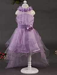 Girl's Summer Elegant Lavender Flowers Gauze Skirt Trailing (Gauze)