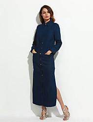 Mulheres Bainha Vestido,Casual Simples Sólido Colarinho de Camisa Longo Manga ¾ Azul Poliéster Outono
