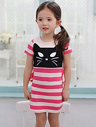 Summer Girls Cartoon Stripe Splicing Dress With Short Sleeves