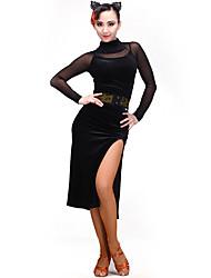 Dança Latina Vestidos Mulheres Apresentação Rede Tule Flanela 1 Peça Manga Comprida Vestidos