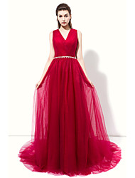 Formal Evening Dress - Open Back A-line V-neck Floor-length Tulle with Side Draping