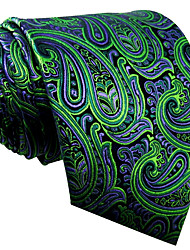 QXL18 Mens Neckties Green Paisley 100% Silk Business New Fashion Wedding Dress For Men