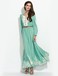 Women's Going out Vintage Swing Dress,Floral Round Neck Maxi Long Sleeve Blue Spring / Fall / Winter