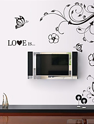 ZOOYOO® Diagonal Flower Vine Removable Wall Stickers Window Sticker Art Decals Mural DIY Wallpaper for Room Decal-L