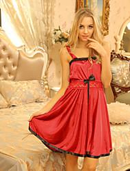 SKLV Women's Lace/Ice Silk Gowns/Ultra Plus Size Sexy Strap Nightwear