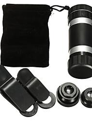 8 vezes o telefone telescópio monocular lente teleobjetiva universal grande angular macro peixes fisheye quatro-em-um da lente do telefone