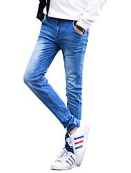 Herren Übergrössen Schlank Jeans Hose-Ausgehen Lässig/Alltäglich Klub Vintage Einfach Street Schick einfarbig Tiefe Hüfthöhe Knopf