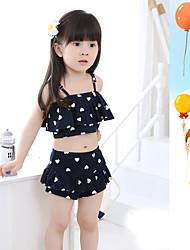 Girl's Sports Geometric Swimwear,Polyester Summer Black / Pink / Yellow