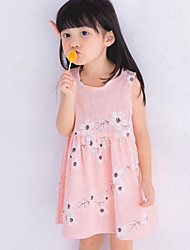 Girl's Beach Floral Dress,Cotton Linen Summer Sleeveless