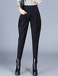Women's Plus Size Loose Harem Chinos Pants Casual/Daily Work Street chic Solid Pleated High Waist Elasticity Polyester All Seasons