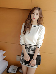 Women's Work Going out Casual/Daily Simple Vintage Sophisticated Spring Fall T-shirt Skirt Suits,Geometric Round Neck Long Sleeve